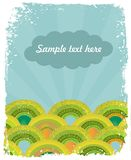 Retro- Hintergrund mit grünen Hügeln Lizenzfreie Stockfotos