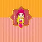 Retro- Hintergrund mit nettem Sommermädchen Lizenzfreies Stockbild