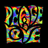 Retro hippie symbol. Retro handwritten lettering in the style of 1960s, 60s, 70c Peace and Love. Rainbow psychedelic colors on a black background stock illustration