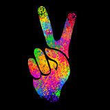 Retro hippie symbol. Hippie symbols two fingers as a sign of victory, a sign of Pacific and letterin love and peace. In the style of the '60s,' 70s vector illustration