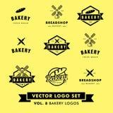 Retro- Hippie-Weinlese-Bäckerei-Restaurant-Vektor Logo Set Lizenzfreie Stockbilder