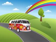 Retro hippiebestelwagen Stock Afbeelding