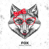 Retro Hipster animal fox. Hand drawing Muzzle of animal fox. Stock Photo