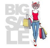 Retro Hipster animal girl cat. Big sale hipster poster with woman. Model Royalty Free Stock Images