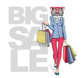 Retro Hipster animal girl frog. Big sale hipster poster Royalty Free Stock Image