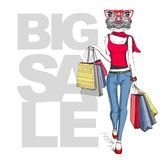 Retro Hipster animal girl frog. Big sale hipster poster with woman Stock Photos