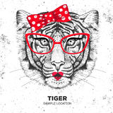 Retro Hipster animal tiger. Hand drawing Muzzle of animal tiger. Stock Photo