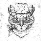 Retro Hipster animal cat. Hand drawing Muzzle of cat. Retro Hipster cat. Hand drawing Muzzle of cat Royalty Free Stock Photo