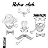Retro hipster club accessories Stock Photography