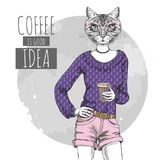Retro hipster fashion animal cat with coffee. Woman model. Illustration Royalty Free Stock Photos