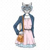 Retro Hipster fashion animal cat. Woman model. Illustration Stock Photography