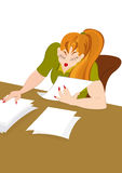 Retro hipster girl working with papers royalty free illustration