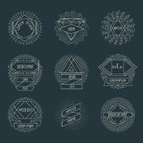 Retro hipster logos and labels with radial Stock Photo