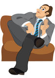 Retro hipster man with brown hair sitting on the sofa royalty free illustration