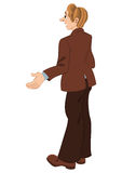 Retro hipster man standing in brown jacket Stock Photography