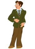 Retro hipster man standing in green jacket Royalty Free Stock Photo