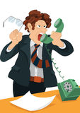 Retro hipster man yelling in the old fashioned phone royalty free illustration