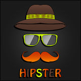 Retro hipster mustache, glasses and hat poster Stock Images