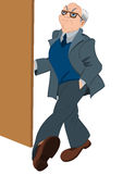 Retro hipster old man opening door vector illustration