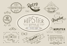 Retro hipster stamps collection Royalty Free Stock Photos