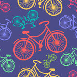 Retro hipster styled different coloured bicycles Royalty Free Stock Images