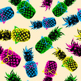 Retro hipster summer pattern with color pineapple Stock Images