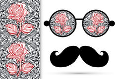Retro hipster sunglasses with floral rose ornament Royalty Free Stock Images