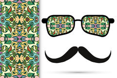 Retro hipster sunglasses with ornament and. Mustaches, seamless floral geometric pattern Stock Photo