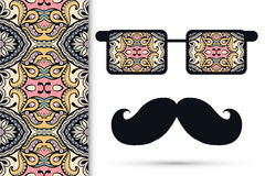 Retro hipster sunglasses with ornament and. Mustaches, seamless floral geometric pattern Stock Image