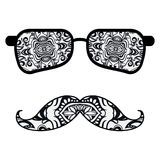 Retro hipster sunglasses, print for t-shirt, card Royalty Free Stock Image