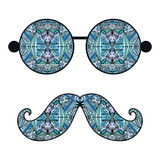 Retro hipster sunglasses, print for t-shirt, card. Design elements Stock Images