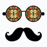 Retro hipster sunglasses, print for t-shirt, card. Design elements Stock Photos