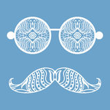 Retro hipster sunglasses, print for t-shirt, card. Design elements Stock Image