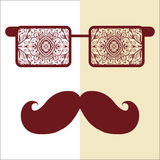 Retro hipster sunglasses, print for t-shirt, card. Design elements Royalty Free Stock Image