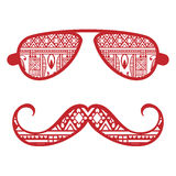 Retro hipster sunglasses, print for t-shirt, card. Design elements Royalty Free Stock Photos