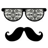 Retro hipster sunglasses, print for t-shirt, card. Design elements, black and white Stock Images