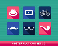 Retro hipsters flat icons set. Stock Image
