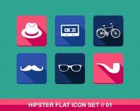 Retro hipsters flat icons set. Stock Image