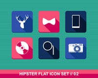Retro hipsters style flat icons set. Royalty Free Stock Photography