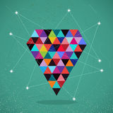 Retro hipsters trendy triangle diamond illustration. Royalty Free Stock Image