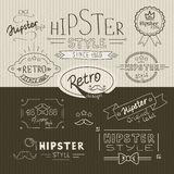 Retro hipsterstämpelsamling Arkivbild