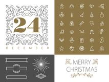 Retro hispter monogram line set christmas design Royalty Free Stock Photography