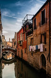 Retro, historic houses and beautiful water channels, Venice, Italy Royalty Free Stock Photography