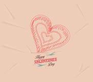 Retro hjärta för valentindagbakgrund Arkivbild