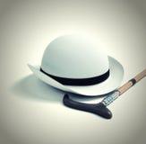 Retro hoed en riet royalty-vrije illustratie