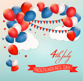 Retro Holiday American background with colorful balloons. For 4th of July. Vector Stock Photos