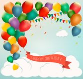 Retro holiday background with colorful balloons. And a Happy Birthday ribbon Royalty Free Stock Photography