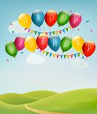 Retro holiday background with colorful balloons Royalty Free Stock Image