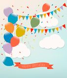 Retro holiday background with colorful balloons. Royalty Free Stock Photography