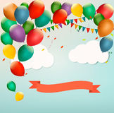 Retro holiday background with colorful balloons. Vector Royalty Free Stock Photography